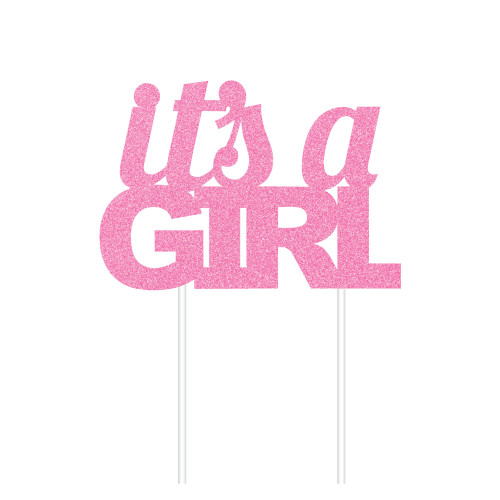 """Club Pack of 12 Glittered Pink """"its a GIRL"""" Cake Dessert Topper 8"""" - IMAGE 1"""