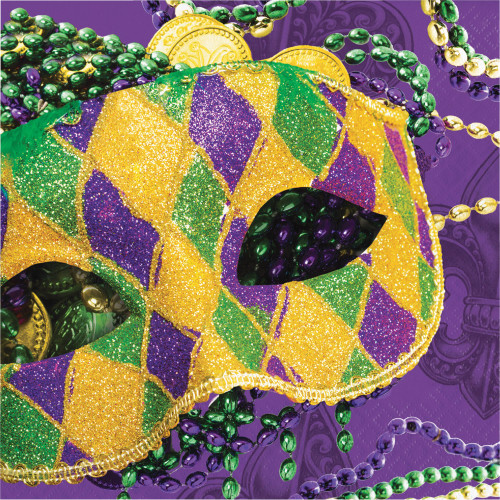 """Club Pack of 192 Yellow and Purple Masks of Mardi Gras 2-Ply Luncheon Napkins 12.75"""" - IMAGE 1"""