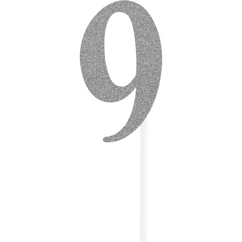 """Club pack of 12 Glittered Silver '9' Party Cake Dessert Topper 6"""" - IMAGE 1"""