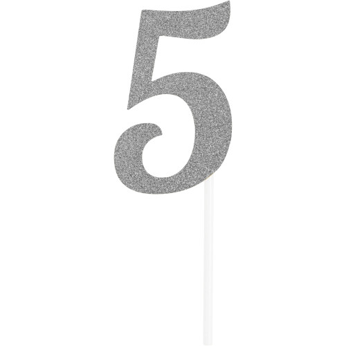 """Club pack of 12 Glittered Silver '5' Party Cake Dessert Topper 6"""" - IMAGE 1"""