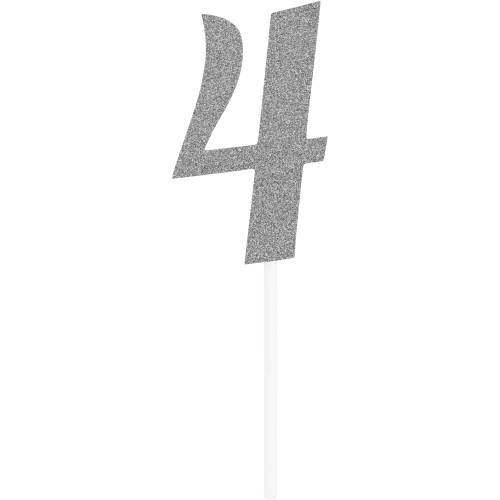 """Club pack of 12 Glittered Silver '4' Party Cake Dessert Toppers 6"""" - IMAGE 1"""