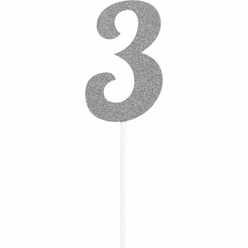 """Club pack of 12 Glittered Silver '3' Party Cake Dessert Toppers 6"""" - IMAGE 1"""