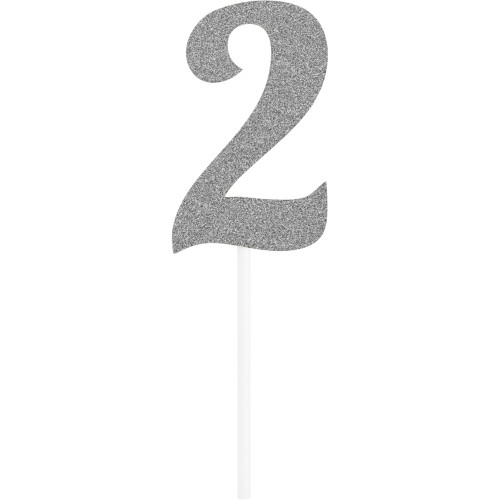 """Club pack of 12 Glittered Silver '2' Party Cake Dessert Toppers 6"""" - IMAGE 1"""