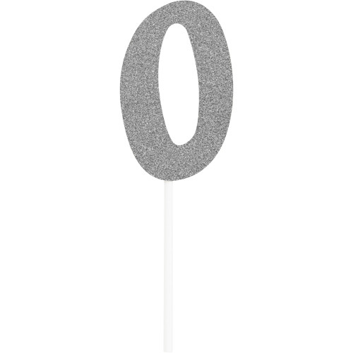 """Club pack of 12 Glittered Silver '0' Party Cake Dessert Topper 6"""" - IMAGE 1"""