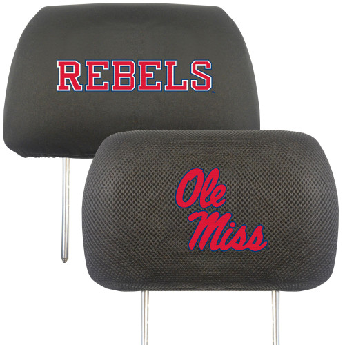 """13"""" Black and Pink NCAA Ole Miss Rebels Headrest Cover - IMAGE 1"""