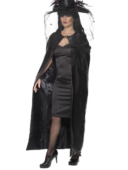 """49"""" Black Witch Women Adult Halloween Cape Costume Accessory - One Size - IMAGE 1"""
