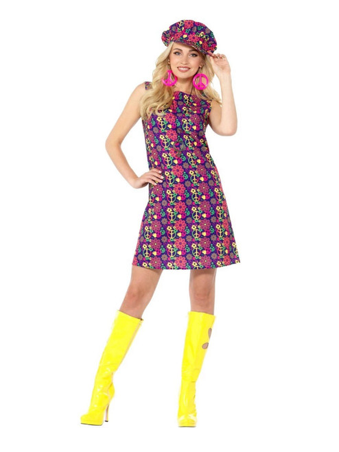 Pink and Blue 1960's Style Psychedelic CND Women Adult Halloween Costume - Large - IMAGE 1
