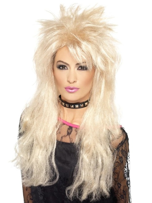 """26"""" Blonde Beige 1980's Style Long Mullet Women Adult Halloween Wig Costume Accessory - One Size - IMAGE 1"""