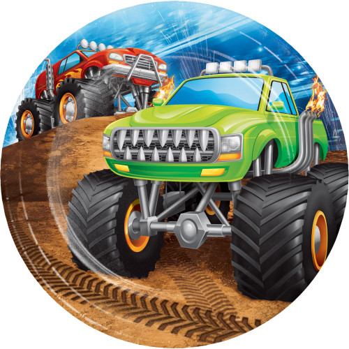 "Club Pack of 96 Green and Black Monster Truck Rally Dessert Round Plates 6.8"" - IMAGE 1"