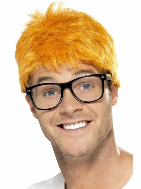 """26"""" Honey Yellow 1990 Style TV Host Men Adult Halloween Wig and Glasses Costume Accessory - One Size - IMAGE 1"""