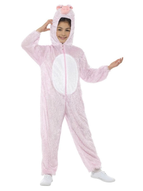 "50"" Pink and White Pig Unisex Child Halloween Costume with Hooded Jumpsuit - One Size - IMAGE 1"
