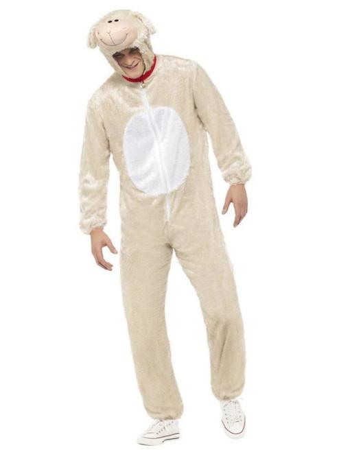 "50"" Beige and Cream White Lamb Unisex Adult Halloween Costume - Large - IMAGE 1"