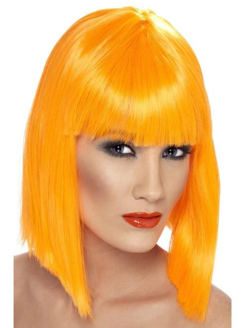 "26"" Orange Glam Short Blunt Fringe Women Adult Halloween Wig Costume Accessory - One Size - IMAGE 1"