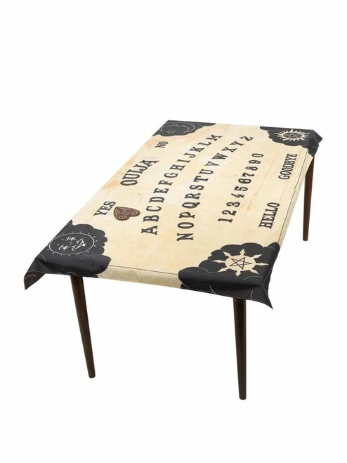 """31"""" Beige and Black Ouija Board Table Cloth and Planchette Coaster - IMAGE 1"""