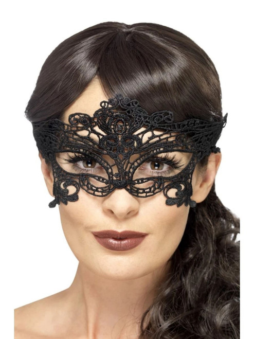 "28"" Black Embroidered Lace Filigree Heart Women Adult Halloween Eyemask Costume Accessory - One Size - IMAGE 1"