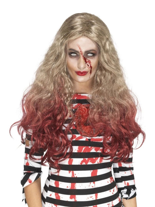 "26"" Blonde Brown and Red Zombie Women Adult Halloween Blood Drip Wig Costume Accessory - One Size - IMAGE 1"