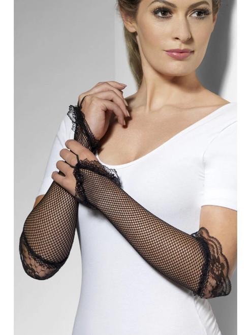 "19.5"" Black Fingerless Fishnet Women Adult Halloween Gloves Costume Accessory - One Size - IMAGE 1"