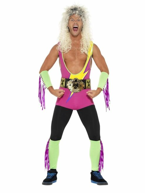 "40"" Purple and Green 1990's Style Retro Wrestler Men Adult Halloween Costume - Large - IMAGE 1"