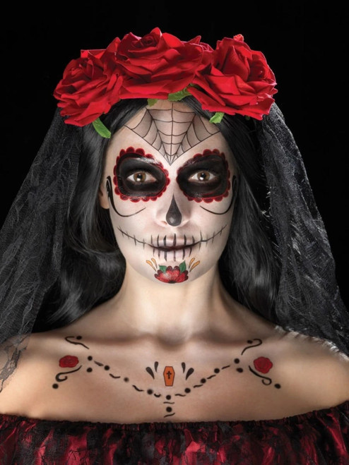 """39"""" Black and Red Face Tattoo Unisex Adult Halloween Kit Costume Accessory - IMAGE 1"""