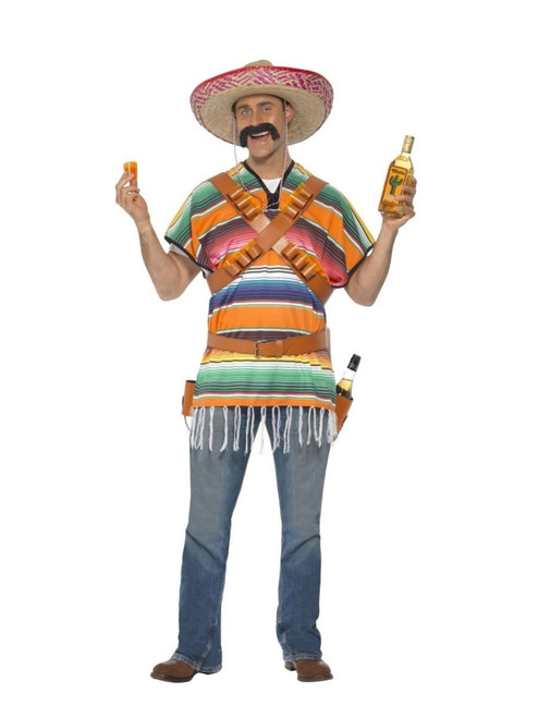 """43"""" Orange and Green Tequila Shooter Men Adult Halloween Costume - One Size - IMAGE 1"""