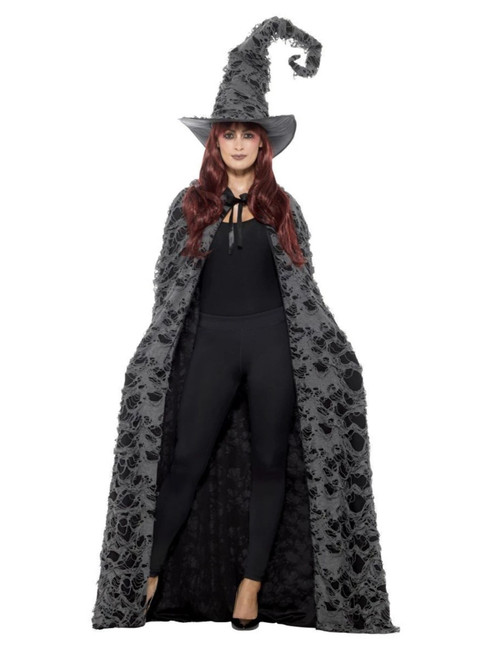 "41"" Gray and Black Deluxe Spellcaster Women Adult Halloween Cape Costume Accessory - One Size - IMAGE 1"