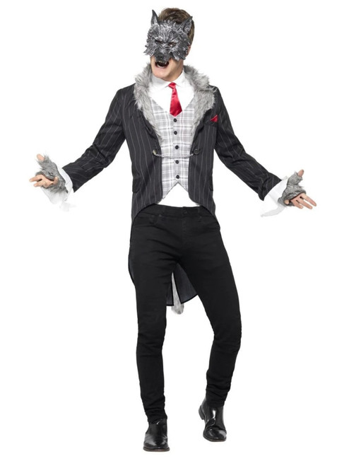 """49"""" Gray and White Big Bad Wolf Deluxe Men Adult Halloween Costume - Large - IMAGE 1"""