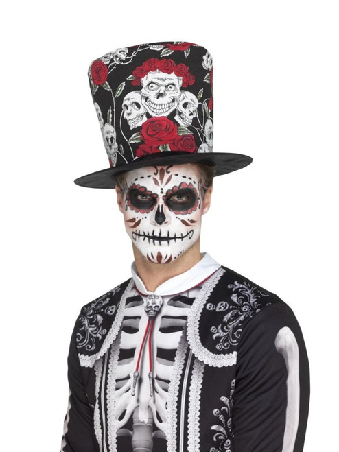 """34"""" Black and White Day of Dead Skull Unisex Adult Halloween Hat Costume Accessory - One Size - IMAGE 1"""