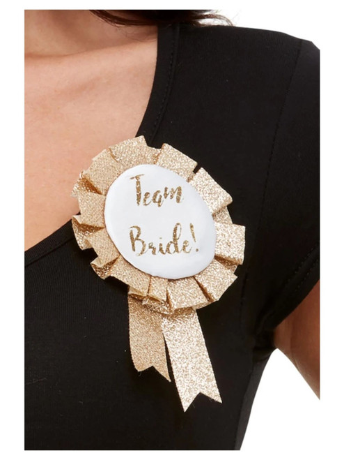 "19"" Rose Gold and White Team Bride Halloween Rosette Hen and Stag Party Costume Accessory - IMAGE 1"