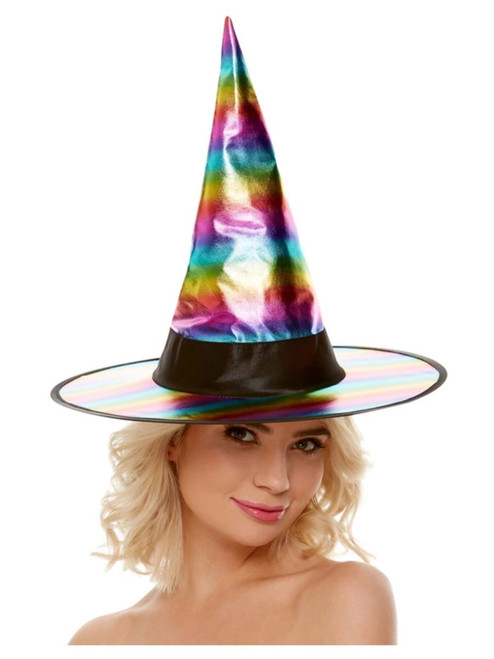 Pink and Blue Women Adult Halloween Rainbow Witch Hat Costume Accessory - One Size - IMAGE 1