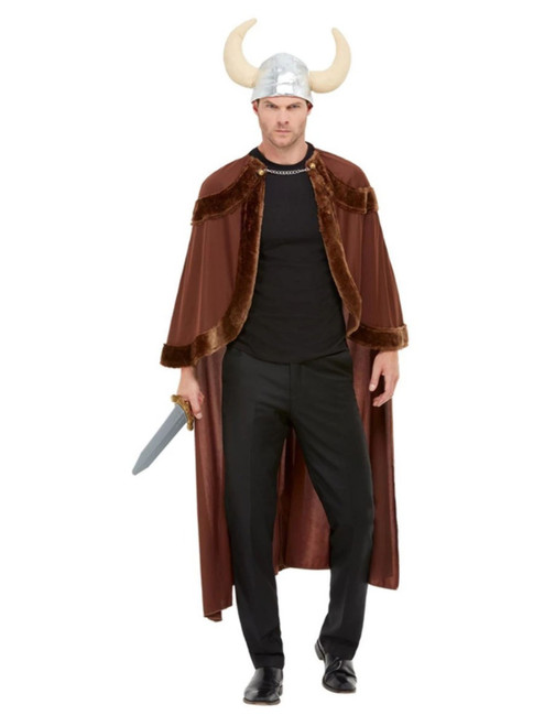 Brown and Black Viking Barbarian Men Adult Halloween Costume - One Size - IMAGE 1