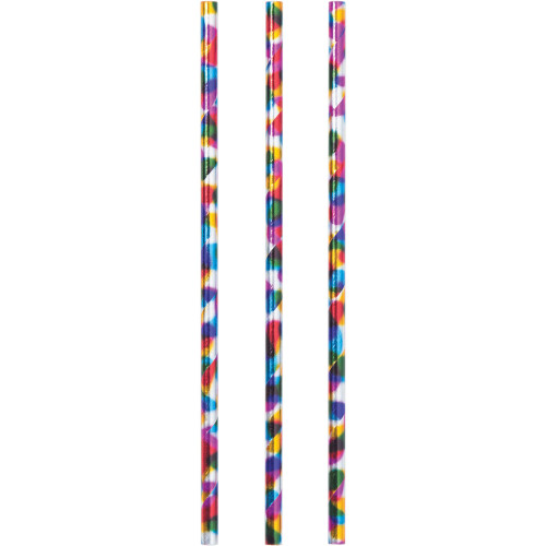 """Club Pack of 144 Blue and White Rainbow Straws 7.75"""" - IMAGE 1"""