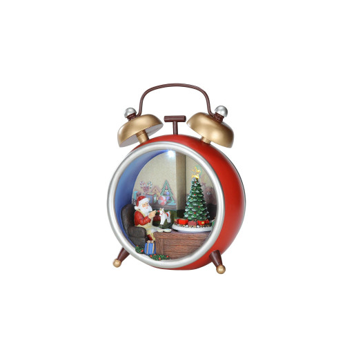 """Pack of 2 Red and Gold LED Lighted Musical Santa Alarm Clock Tabletop Decors 9.25"""" - IMAGE 1"""