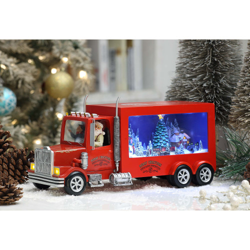 """Set of 2 Red and Blue Santa Red Big Rig Christmas LED Lighted Tabletop Decor 15.25"""" - IMAGE 1"""
