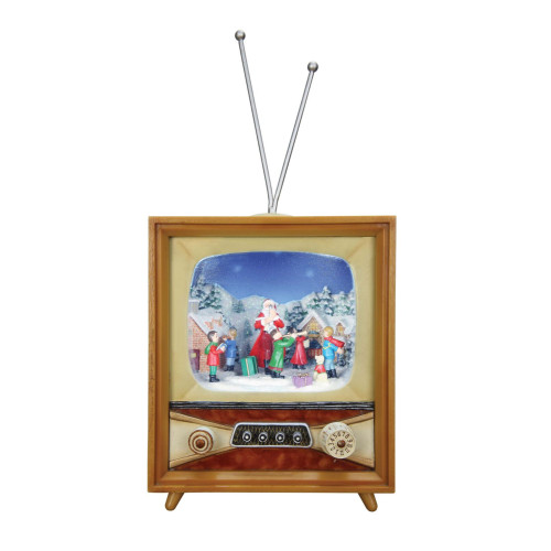 """Set of 2 Brown and Red Musical Christmas TV Tabletop Decor 9.25"""" - IMAGE 1"""