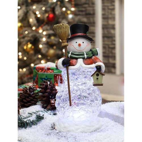 "11.4"" Black and Green Snowman Broom Decorative Christmas Ornament - IMAGE 1"