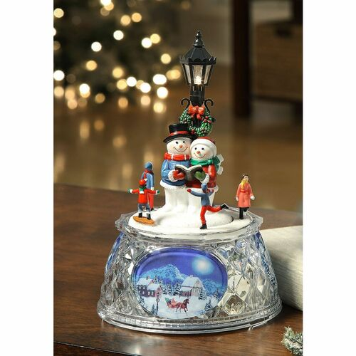 """Pack of 2 Red and Black LED Lighted Musical Snowmen Street Lamp Tabletop Decors 7.25"""" - IMAGE 1"""