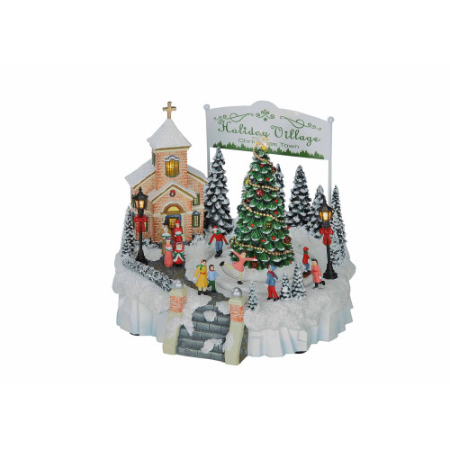 """Pack of 2 White and Green LED Lighted Musical Holiday Village Tabletop Decors 8.5"""" - IMAGE 1"""