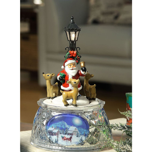 Pack of 2 Red and Black LED Lighted Musical Santa Street Lamp Tabletop Decors 7.25 - IMAGE 1