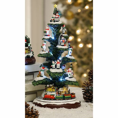"Set of 2 Green and White Snowman Branch Tree Tabletop Decor 14.75"" - IMAGE 1"