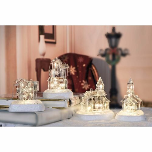 """Set of 4 Clear Contemporary Small String LED Lighted Glass House Tabletop Decors 12.75"""" - IMAGE 1"""