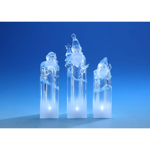 "Set of 2 Clear Ice Tower Santa Christmas LED Lighted Tabletop Decor 8.5"" - IMAGE 1"