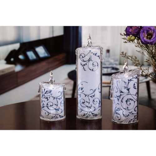 Set of 2 Blue and White Contemporary Swirly Leaves LED Lighted Candles - IMAGE 1