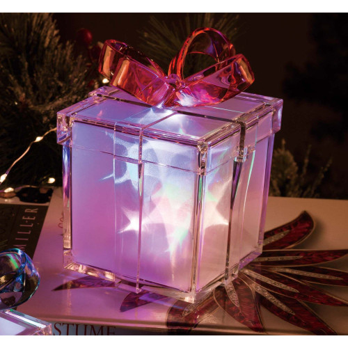 """8"""" Vibrantly Colored Contemporary Glass LED Lighted Star Gift Box Tabletop Decor - IMAGE 1"""