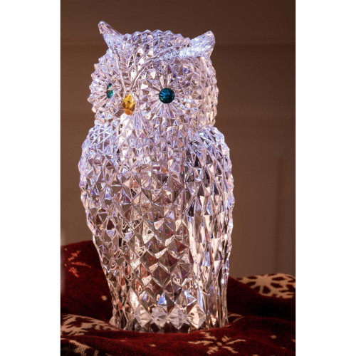 "12.75"" Clear and Blue Diamond Cut Owl LED Lighted Tabletop Decor - IMAGE 1"