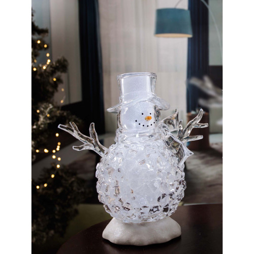 Set of 2 Clear and Silver Contemporary Small Silver Glitter Snowman LED Lighted Tabletop Decor - IMAGE 1