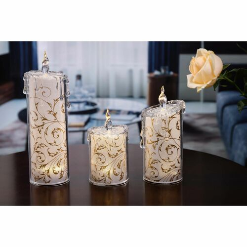 Set of 2 Gold and White Contemporary Swirly Leaves LED Lighted Candles - IMAGE 1