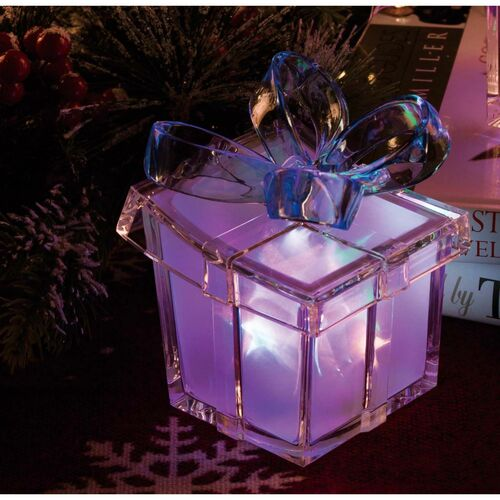 """5"""" Vibrantly Colored Contemporary Glass LED Lighted Star Gift Box Tabletop Decor - IMAGE 1"""