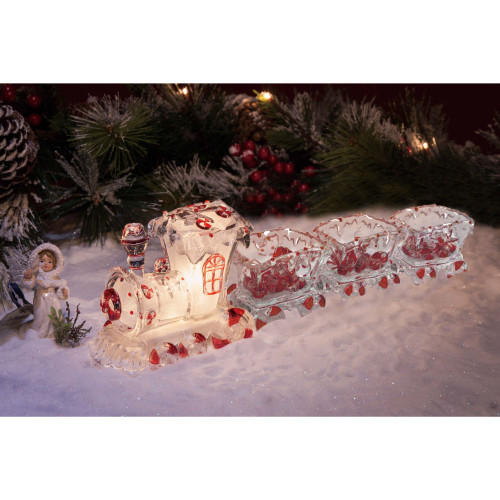 """10.75"""" Clear and Red LED lighted Glitter Train Set Glass Tabletop Decor - IMAGE 1"""