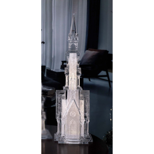 """18.75"""" Clear and Gold Church Four Angels LED Lighted Tabletop Decor - IMAGE 1"""