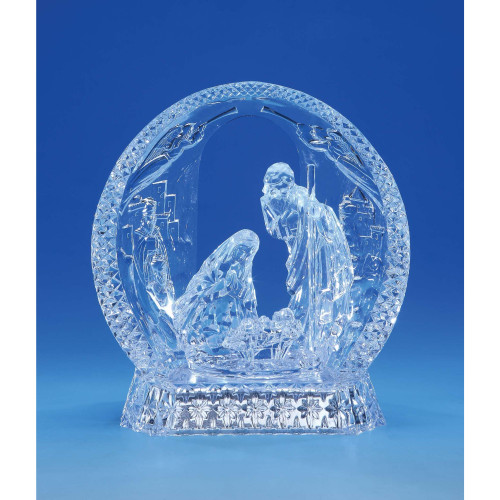 """Set of 2 Clear Contemporary Nativity Half Dome LED Lighted Tabletop Decor 7.75"""" - IMAGE 1"""